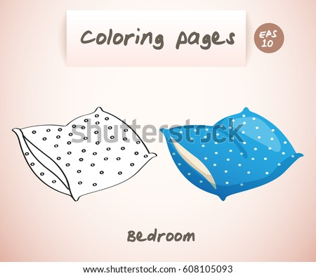 Coloring Book Pages Kids Bedroom Pillow Stock Vector 608105093 ...