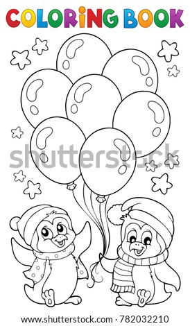 Coloring book party penguins 1 - eps10 vector illustration.