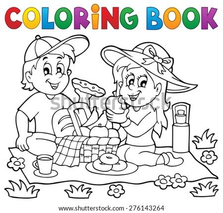 Coloring book picnic theme 1 - eps10 vector illustration. - stock vector