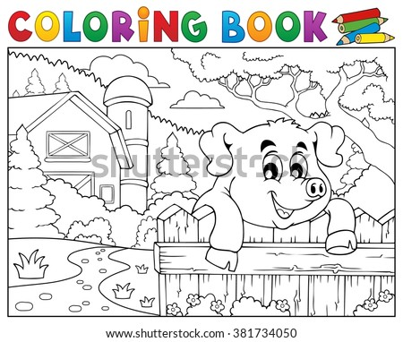 Coloring book pig behind fence near farm - eps10 vector illustration. - stock vector
