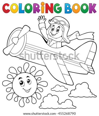 Coloring book pilot in retro airplane - eps10 vector illustration.