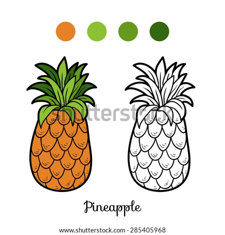 Coloring book (pineapple) - stock vector