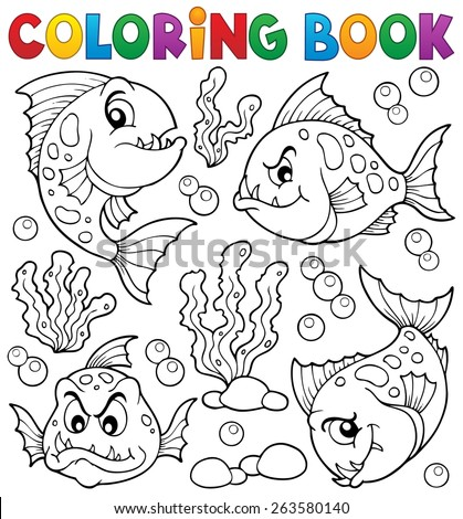 Coloring book piranha fishes theme - eps10 vector illustration. - stock vector