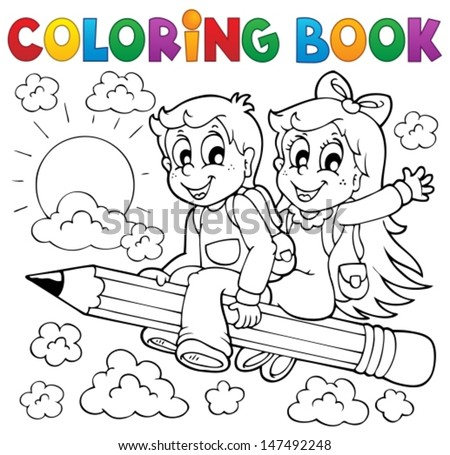 Coloring book pupil theme 3 - eps10 vector illustration. - stock vector