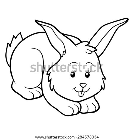 Coloring book (rabbit) - stock vector