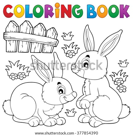 Coloring book rabbit topic 1 - eps10 vector illustration. - stock vector
