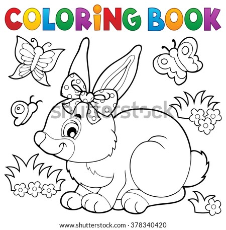 Coloring book rabbit topic 3 - eps10 vector illustration. - stock vector