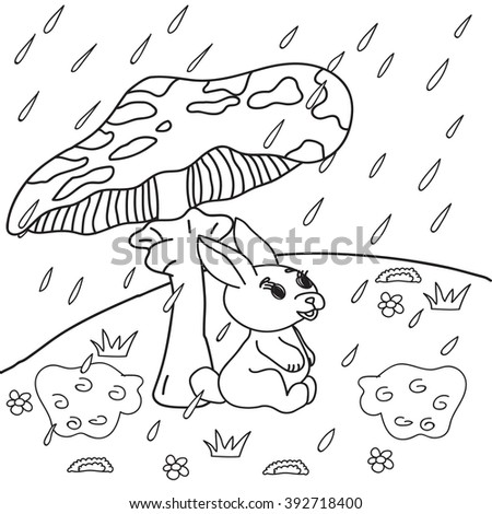 Coloring Book Rain Bunny Sits Under A Mushroom Vector Isolated