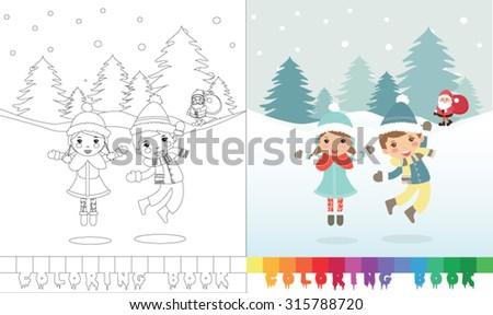 Coloring book Santa Claus topic  - eps10 vector illustration. - stock vector