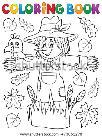 Coloring book scarecrow theme 1 - eps10 vector illustration.