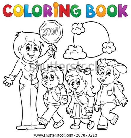 Coloring book school kids theme 1 - eps10 vector illustration. - stock vector