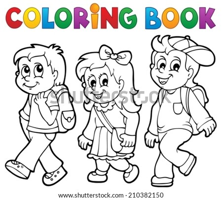 Coloring book school kids theme 2 - eps10 vector illustration. - stock vector