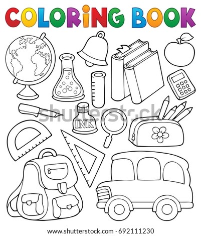 Coloring book school related objects 1 - eps10 vector illustration.