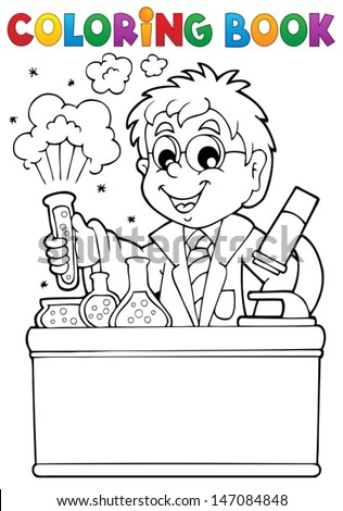Coloring book school subject 1 - eps10 vector illustration. - stock vector