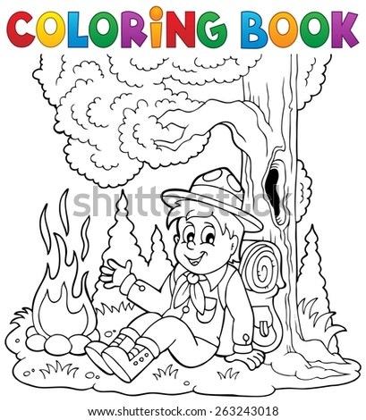 Coloring book scout boy theme 1 - eps10 vector illustration. - stock vector