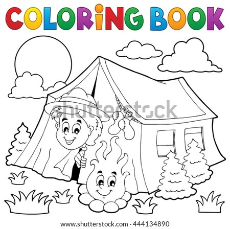 Coloring book scout camping in tent - eps10 vector illustration.