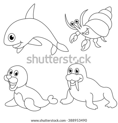 Coloring Book Sea Animals And Ocean Creature Isolated On White Background
