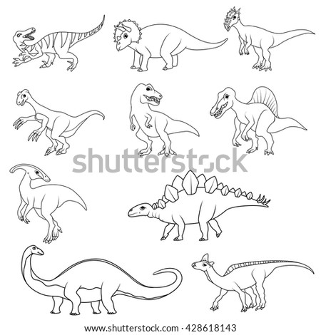Coloring Book Set Of Ten Different Dinosaurs