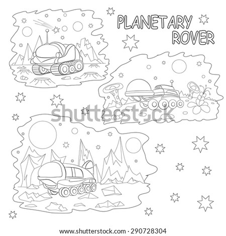 Coloring book. Set of tree illustrations cartoon planetary rovers.