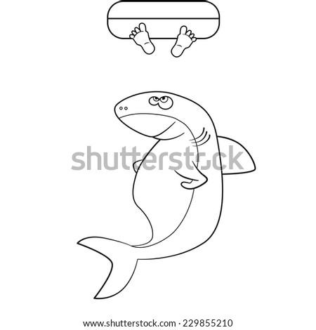 Coloring Book Shark Mans Legs Ocean Stock Vector HD (Royalty Free ...