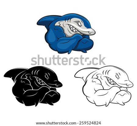 Coloring book Shark cartoon character - vector illustration .EPS10 - stock vector