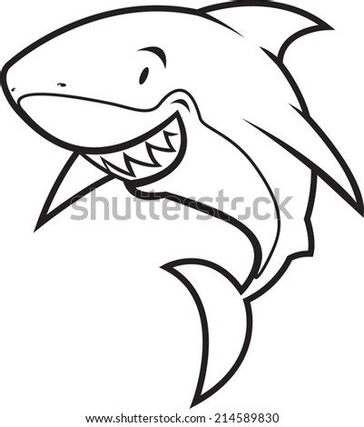 coloring book shark vector illustration/coloring book shark - stock vector