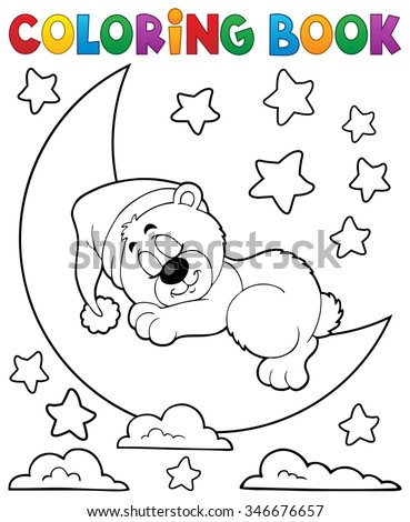 Coloring book sleeping bear theme 2 - eps10 vector illustration.