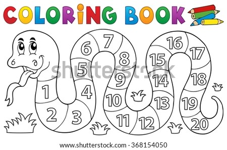 Coloring book snake with numbers theme - eps10 vector illustration. - stock vector