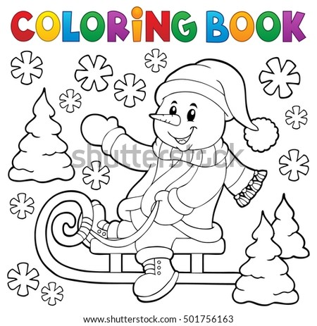 Coloring book snowman on sledge theme 1 - eps10 vector illustration.