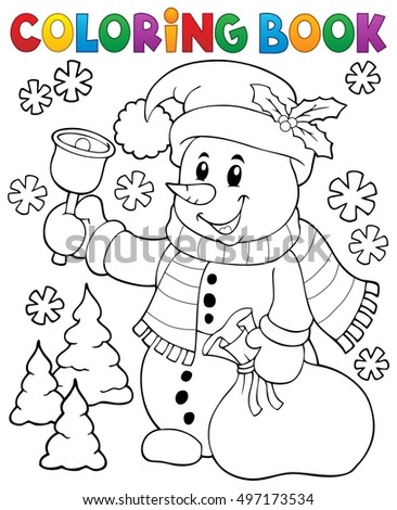Coloring book snowman topic 3 - eps10 vector illustration.