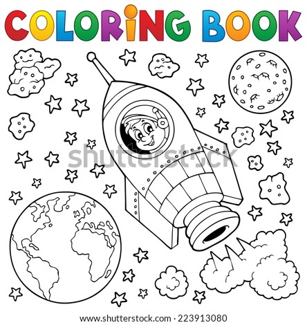 Coloring book space theme 1 - eps10 vector illustration. - stock vector