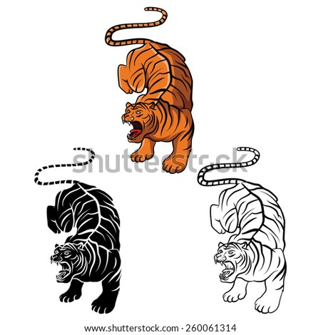 Coloring book Tiger cartoon character - vector illustration .EPS10 - stock vector