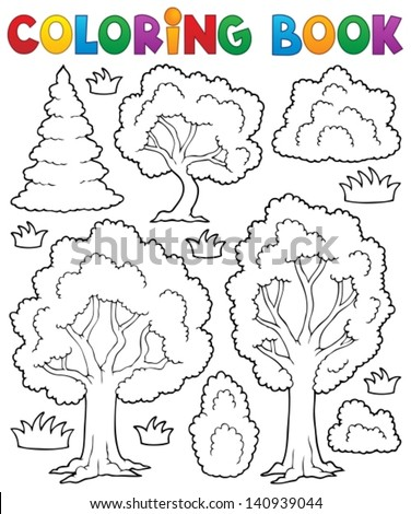 Coloring book tree theme 1 - eps10 vector illustration. - stock vector