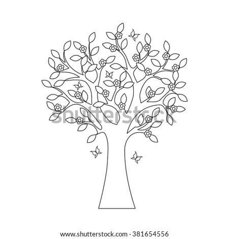 Coloring Book Tree Flowers Butterflies Stock Vector 381654556 ...