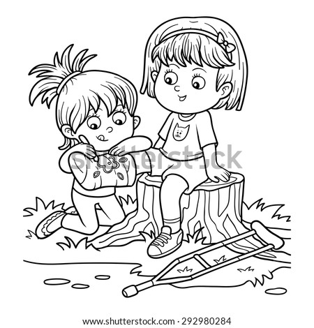 Coloring book (Two girls on the glade, Girl draws on the plastered leg) - stock vector