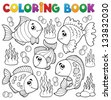 Coloring book various fish theme 1 - eps10 vector illustration. - stock