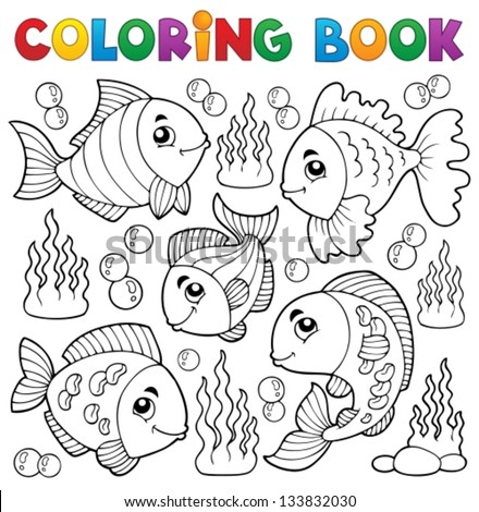 Coloring book various fish theme 1 - eps10 vector illustration. - stock vector