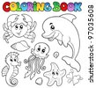 Coloring book various sea animals 2 - vector illustration. - stock photo