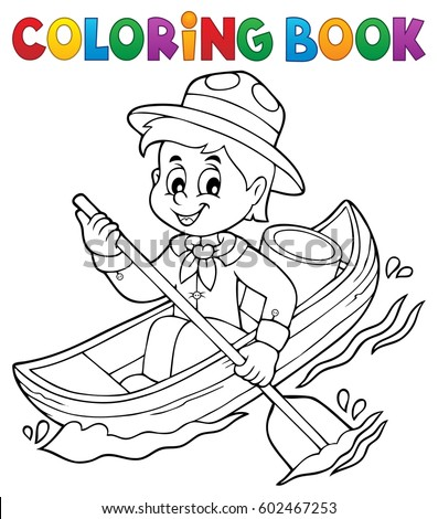 Coloring book water scout boy theme 1 - eps10 vector illustration.