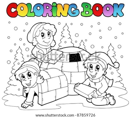 Coloring book winter scene 1 - vector illustration.