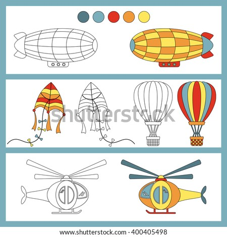 Coloring book with a contour and color example. Air transportation: airship, balloon, kite, helicopter. - stock vector