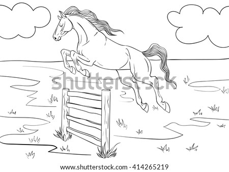 Coloring Book Horse Background Stock Vector (Royalty Free) 414265219 ...