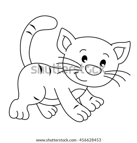 coloring book with animals farm cat vector - Coloring Book Animals