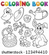 Coloring book with Easter theme 6 - vector illustration. - stock photo