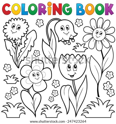Coloring book with flower theme 6 - eps10 vector illustration. - stock vector