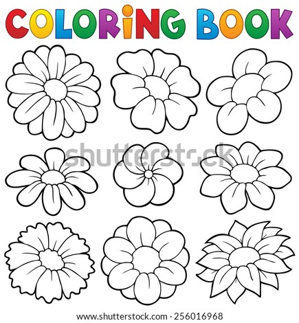 Coloring book with flower theme 8 - eps10 vector illustration. - stock vector