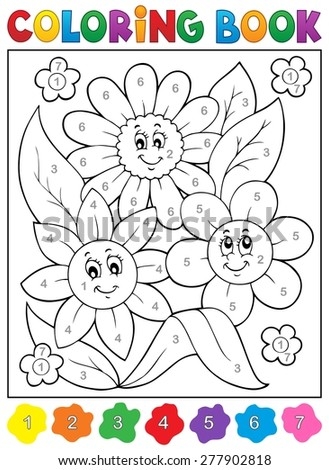 Coloring book with flower theme 9 - eps10 vector illustration. - stock vector