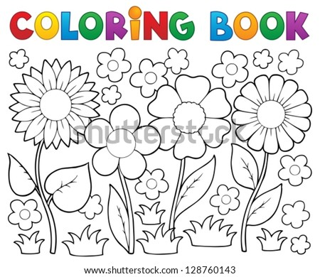 coloring book with flower theme 2 vector illustration - Coulering Book