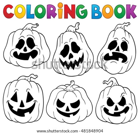 Coloring book with Halloween pumpkins 1 - eps10 vector illustration.