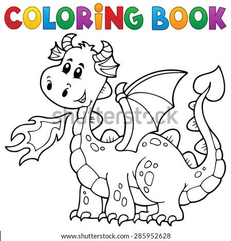 Coloring book with happy dragon - eps10 vector illustration. - stock vector